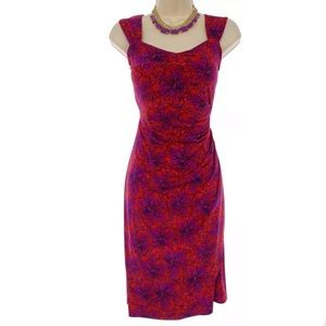 Size L (12-14)▪️RED/PURPLE FLORAL RUCHED DRESS
